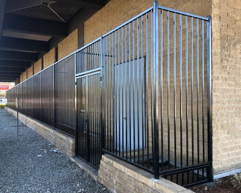 commercial steel fence with security gates wells fargo