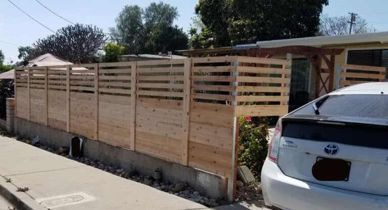 semi private cedar wood horizontal fence oak park san diego