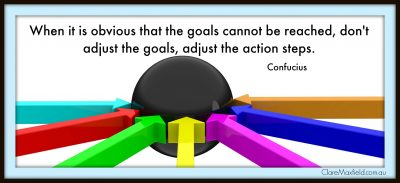 When it is obvious that the goals cannot be reached, don't adjust the goals, adjust the action steps.  Confucius