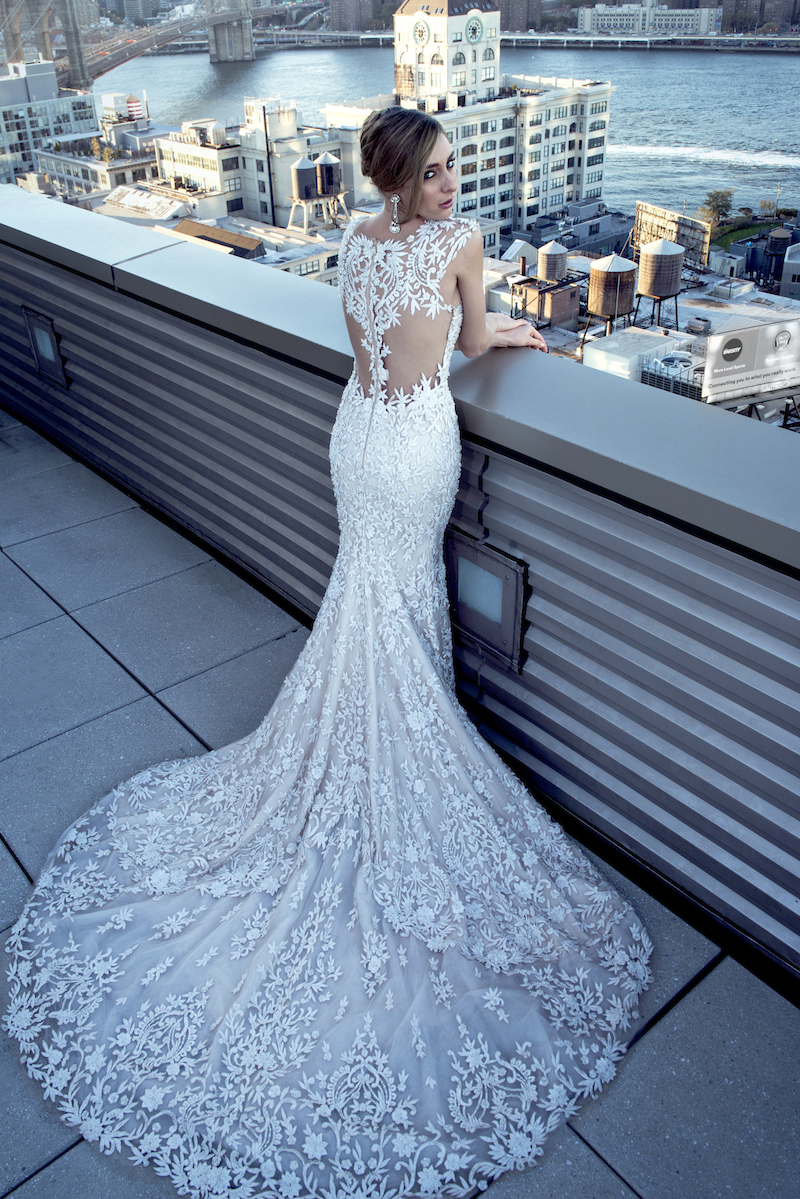 Stephen Yearick Mira Couture Wedding Bridal Gown 14172 Back