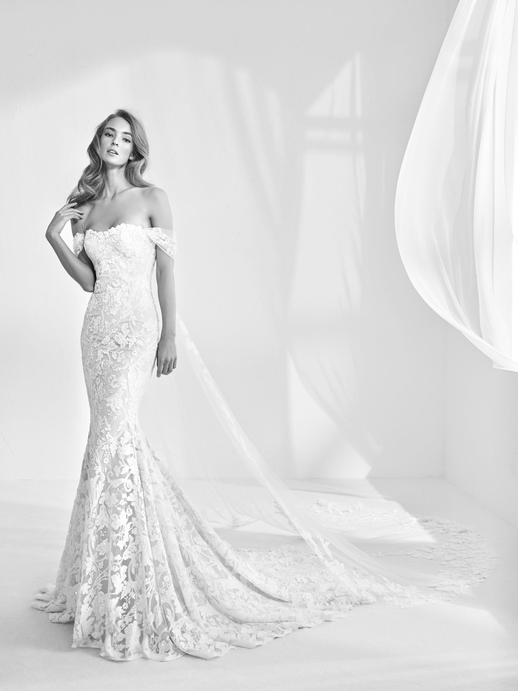 Mira Couture Atelier Pronovias Rani Wedding Bridal Gown Dress Chicago Boutique Front