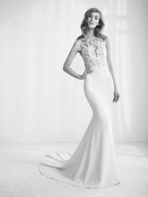 Mira Couture Atelier Pronovias Raika Wedding Gown Bridal Dress Chicago Boutique Front