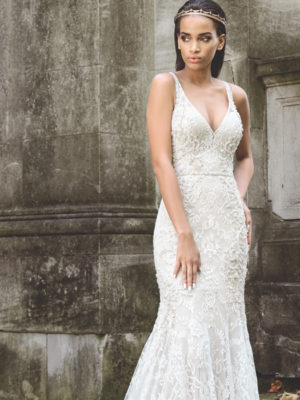 Mira Couture Justin Alexander Signature Bridal Gown Wedding Dress 9872 Chicago Boutique Front