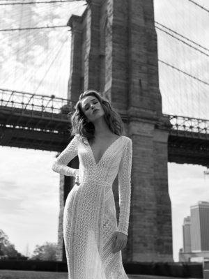 Mira Couture Flora Gabrielle Wedding Gown Bridal Dress Chicago Boutique Front Detail