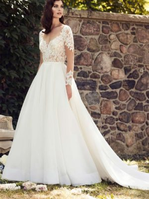 Mira Couture Paloma Blanca 4744 Wedding Dress Bridal Gown Chicago Boutique Front