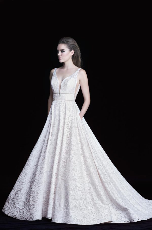 Mira Couture Paloma Blanca 4754 Wedding Dress Bridal Gown Chicago Boutique Front