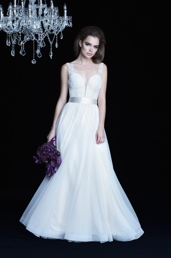 Mira Couture Paloma Blanca 4755 Wedding Dress Bridal Gown Chicago Boutique Front
