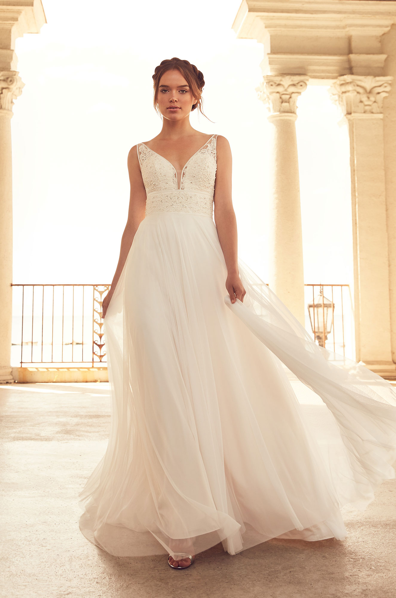 Mira Couture Paloma Blanca 4788 Wedding Dress Bridal Gown Chicago Boutique Front
