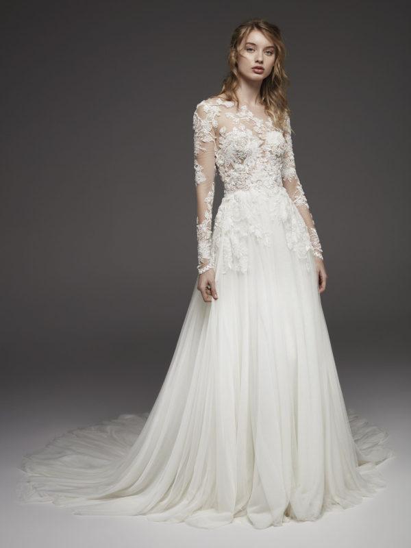Mira Couture Atelier Pronovias Hanouka Wedding Dress Bridal Gown Chicago Boutique Front