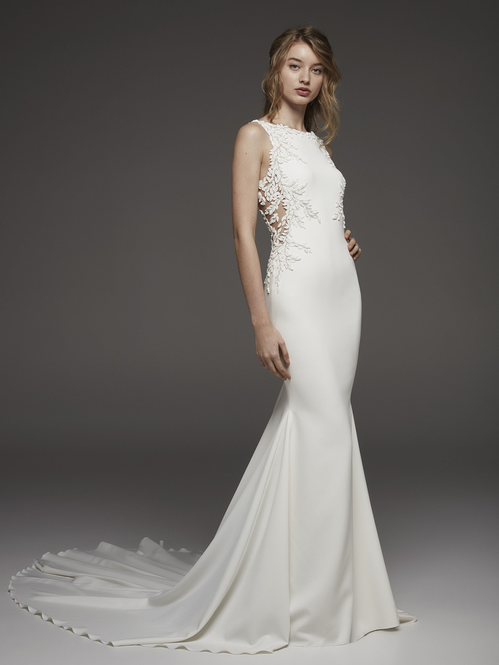 Mira Couture Atelier Pronovias Hosta Wedding Dress Bridal Gown Chicago Boutique Front
