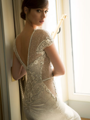 Mira Couture Netta Benshabu Abigail Wedding Dress Bridal Gown Chicago Boutique Back Detail