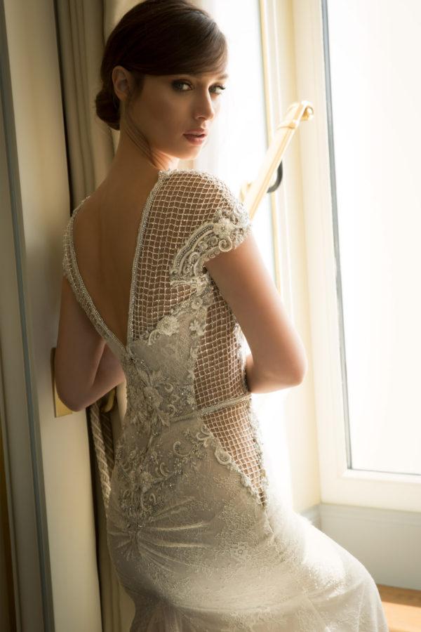 Mira Couture Netta Benshabu Abigail Wedding Dress Bridal Gown Chicago Boutique Back Detail