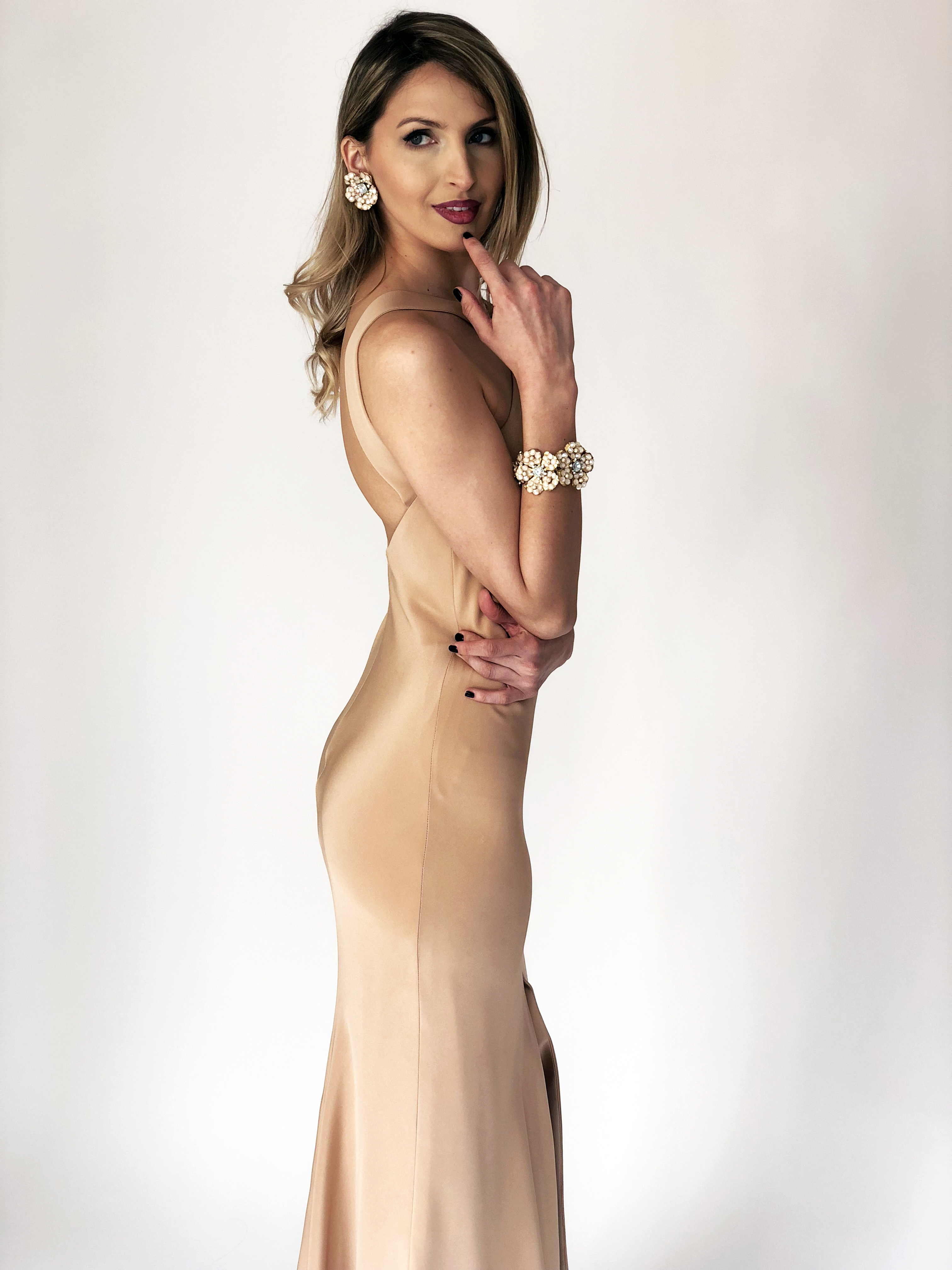 Mira Couture Chicago Boutique Custom Design 4ply Silk Crepe Gown Side Detail