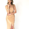 Mira Couture Chicago Boutique Custom Design 4ply Silk Crepe Gown Front