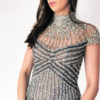Mira Couture Chicago Stephen Yearick 10391x Beaded Collar Dress Detail