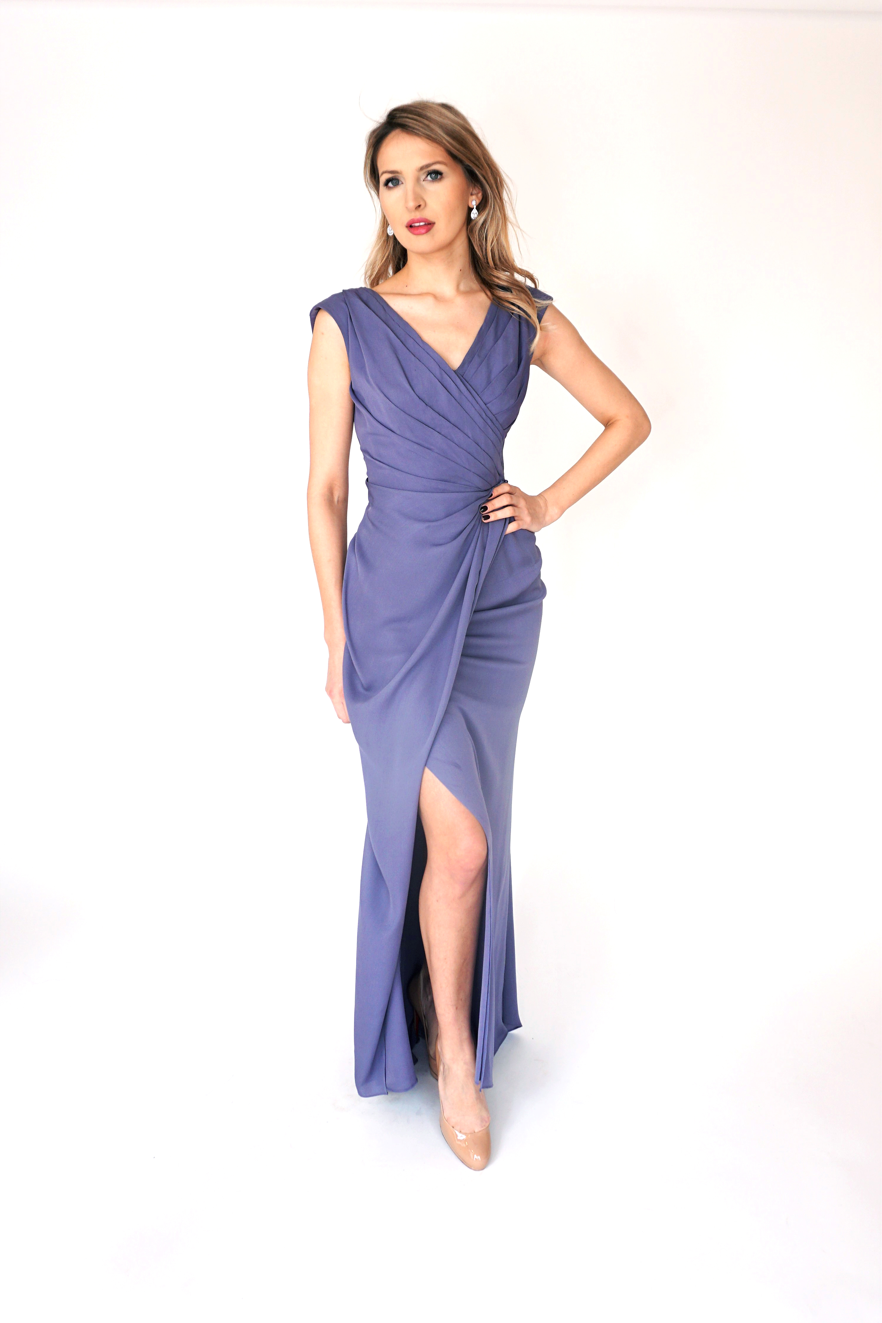 Mira Couture Chicago Boutique Lavender Silk Georgette Pleated Custom Design Dress Front
