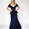 Mira Couture Chicago Boutique Custom Design Navy Taffeta Peplum Gown Front Full