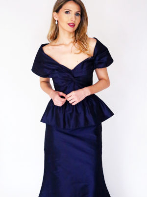 Mira Couture Chicago Boutique Custom Design Navy Taffeta Peplum Gown Front