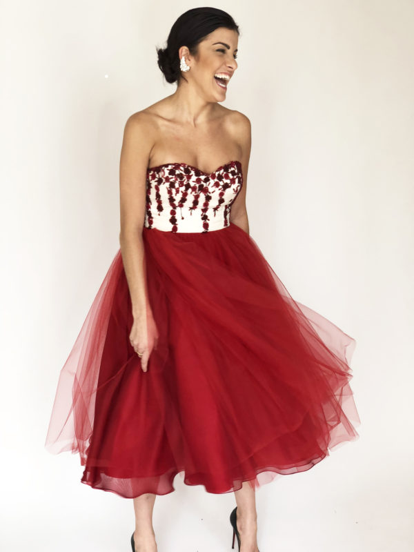 Mira Couture Chicago Boutique Custom Design Red White Beaded Floral Tulle Skirt