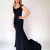 Mira Couture Navy Beaded Top Crepe Skirt