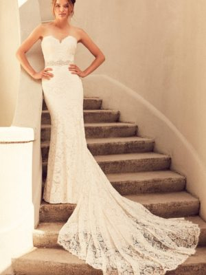 Mira Couture Paloma Blanca 4797 Wedding Dress Bridal Gown Chicago Boutique Front Full