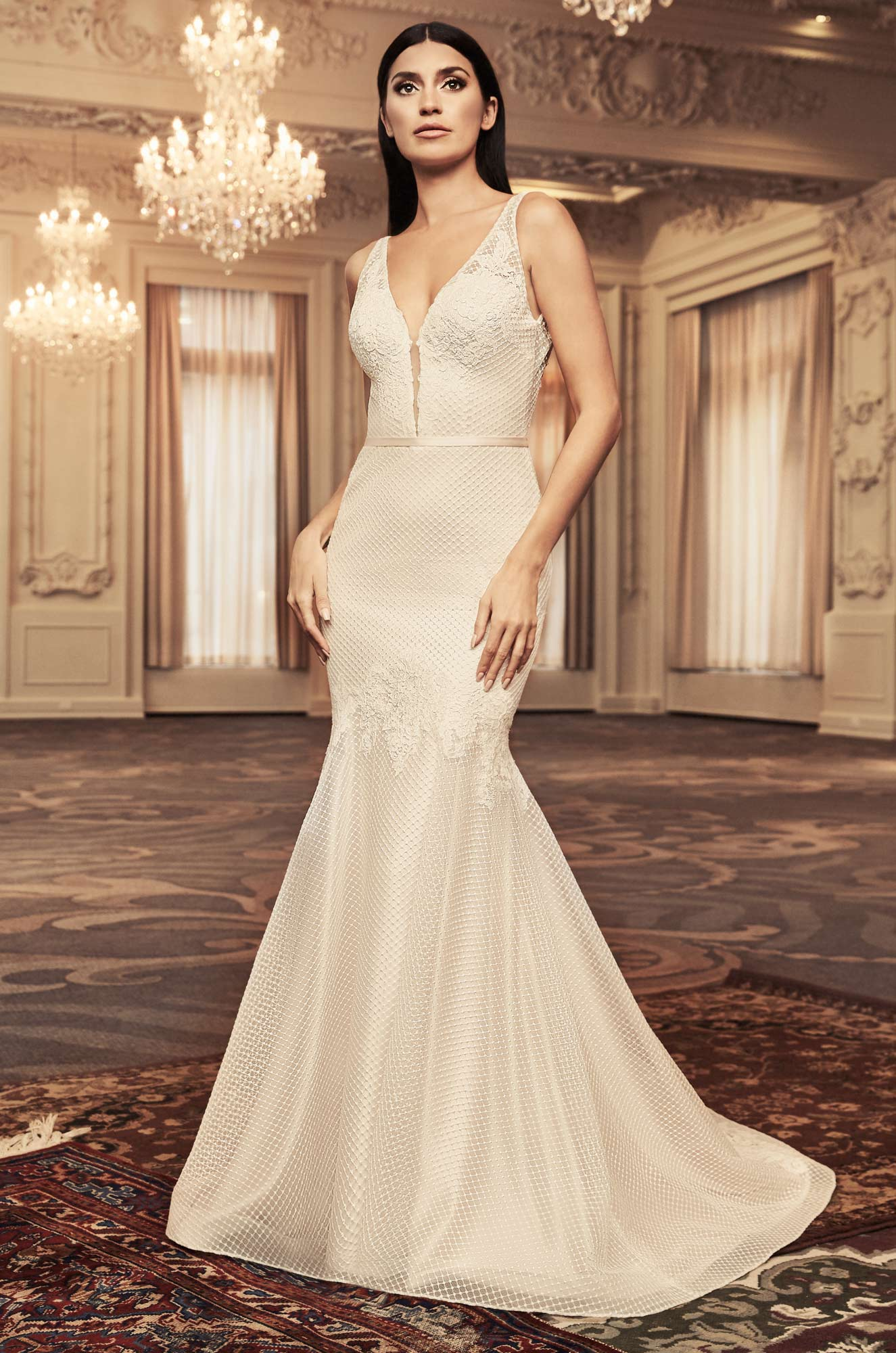 Mira Couture Paloma Blanca 4806 Wedding Dress Bridal Gown Chicago Boutique Front