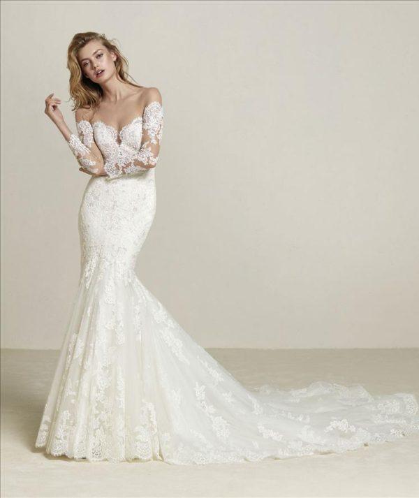 Mira Couture Pronovias Drilia Wedding Dress Bridal Gown Chicago Boutique Front