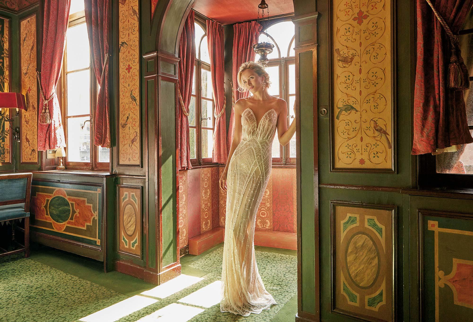 Mira Couture Solo Merav Izabella Wedding Dress Bridal Gown Chicago Boutique Front