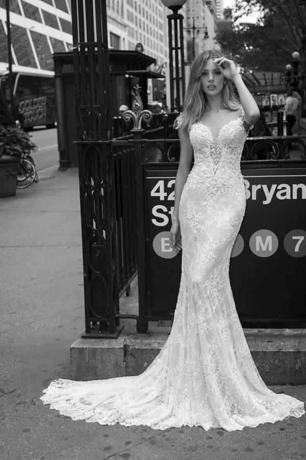 Mira Couture Netta Benshabu Monique Wedding Dress Bridal Gown Chicago Boutique Front