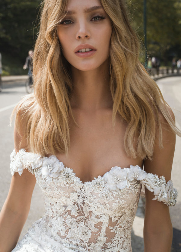 Mira Couture Netta Benshabu Nicole Wedding Dress Bridal Gown Chicago Boutique Detail