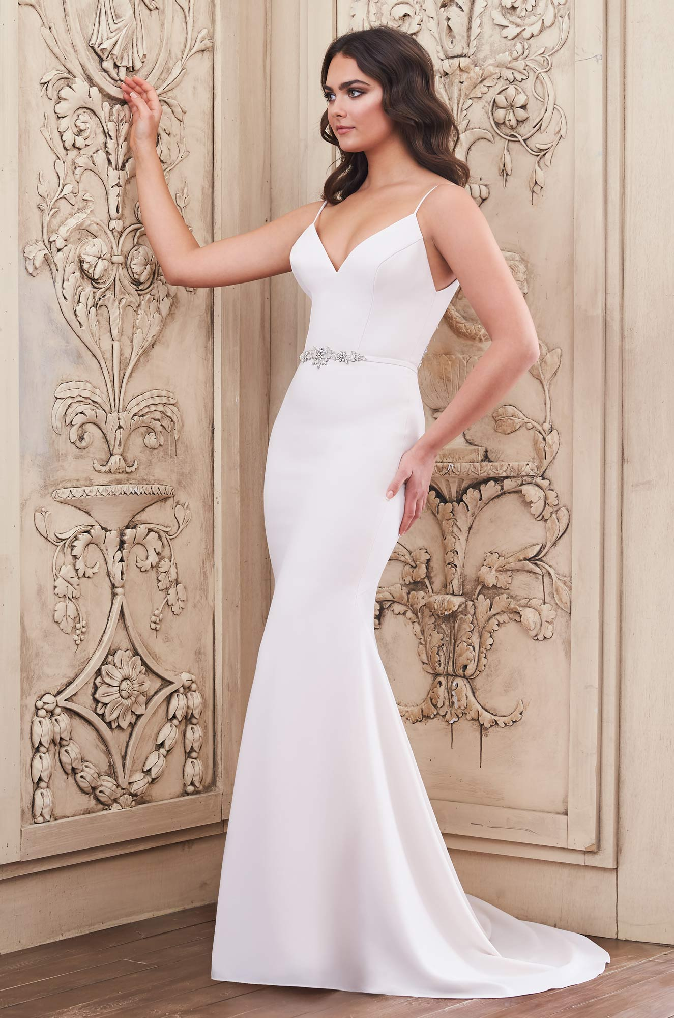 Mira Couture Paloma Blanca 4857 Wedding Dress Bridal Gown Chicago Boutique Front