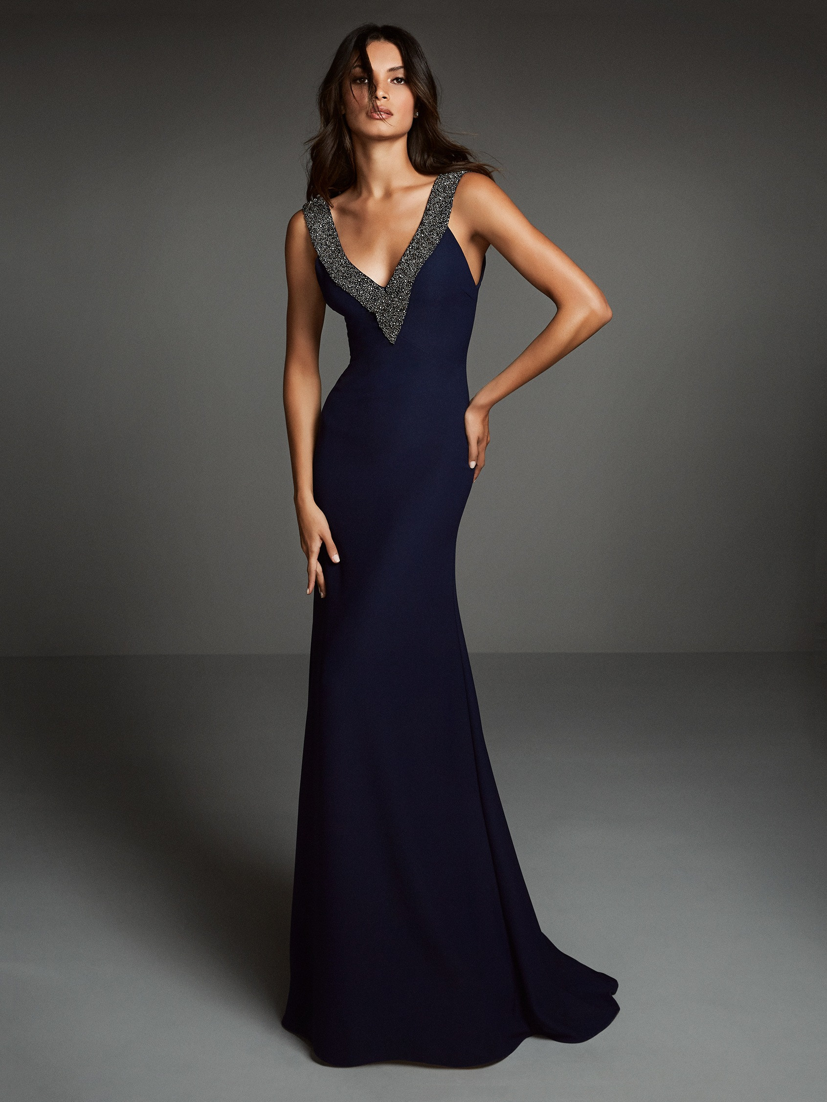 Mira Couture Pronovias ATOS Style 8 Evening Formal Wear Chicago Boutique Front Full