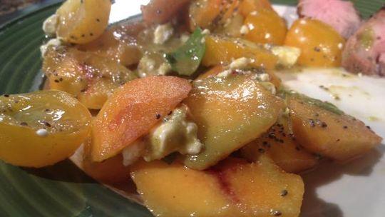 Peach Basil Salad with Teriyaki Marinated Grilled Pork Tenderloin