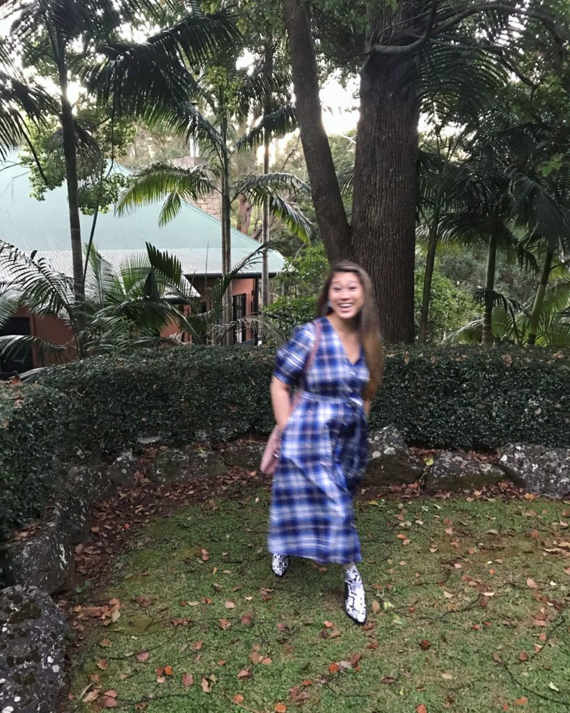 Hanging out in the private enclosed yard area at the Escarpment Retreat in Tamborine in the Gold Coast Hinterland