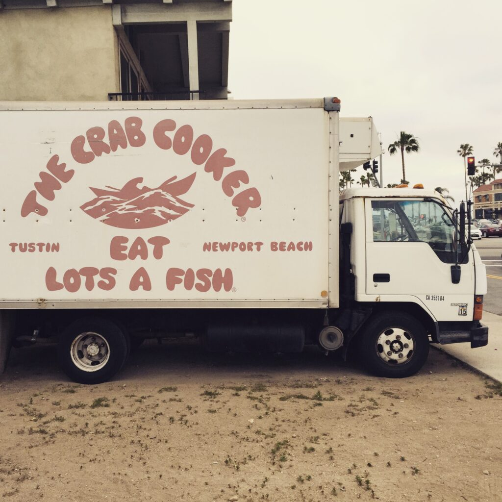 Side of a truck for the Crab Cooker in Orange County.