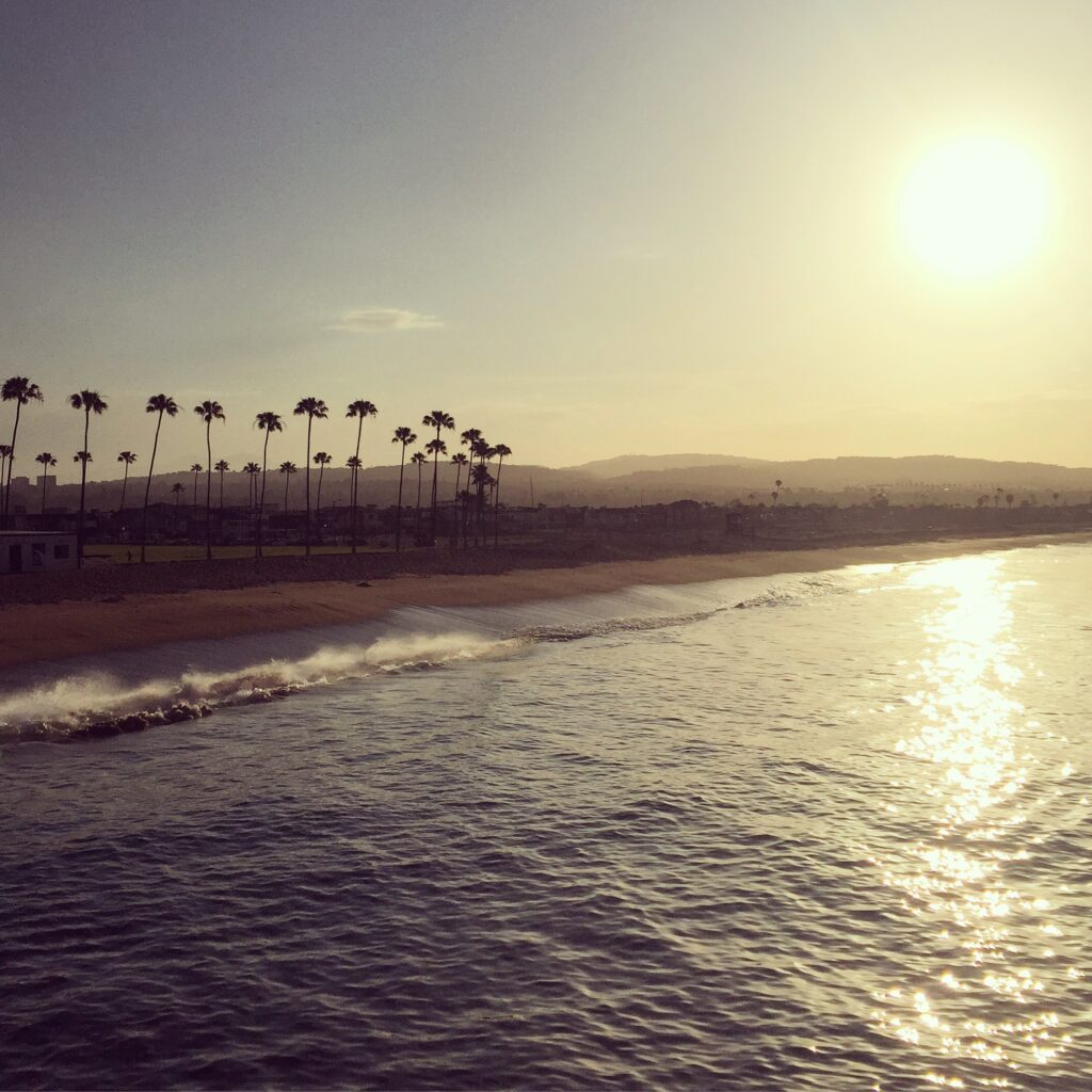 Beautiful view from Balboa Pier with the waves crashing against the sand, the sun shining in the sky and palm trees reaching to the clouds!