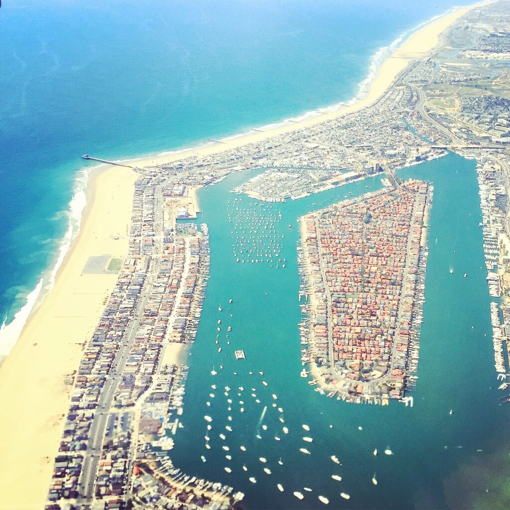 Gorgeous aerial view of Balboa Island from the plane.