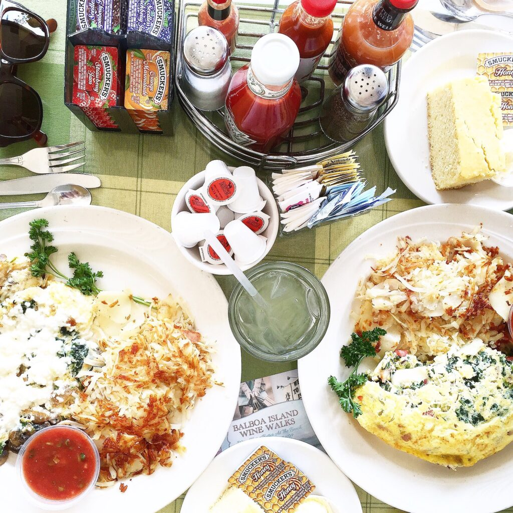 Aerial breakfast pic of our omelettes and cornbread at Wilma's Patio on Balboa Island.