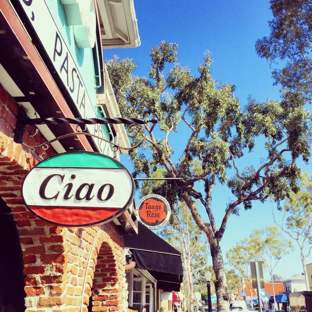 Ciao sign on Balboa Island.