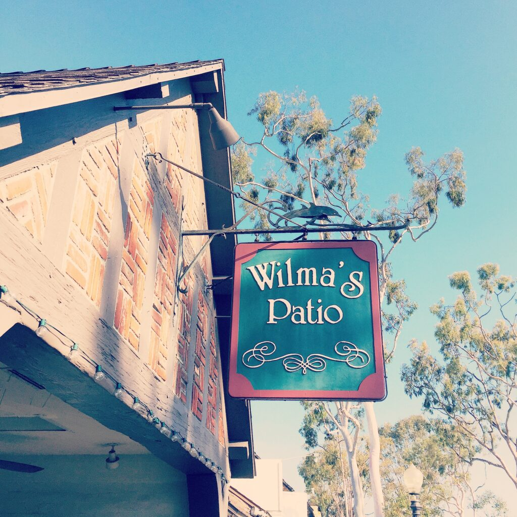 Sign for Wilma's Patio on Balboa Island.