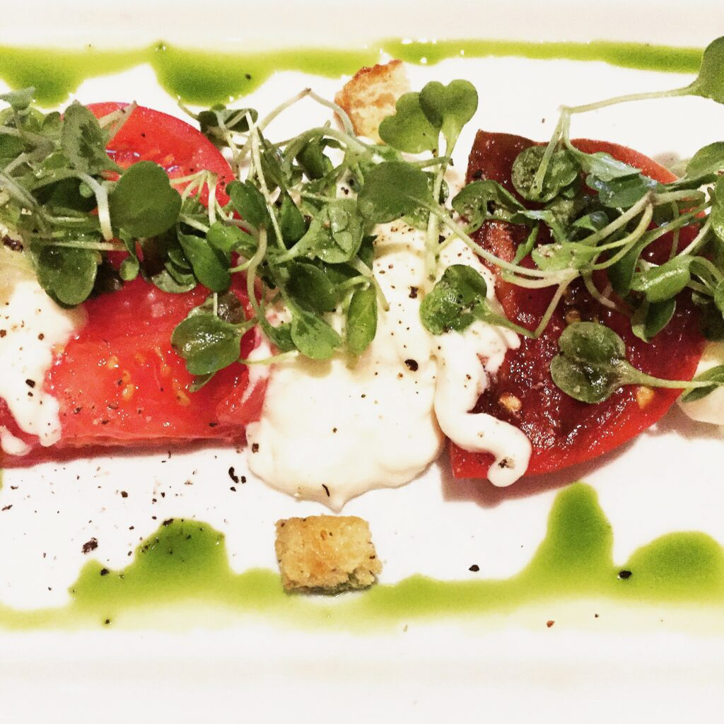 Delicious appetizer at The Winery in Newport Beach - tomato and burrata.