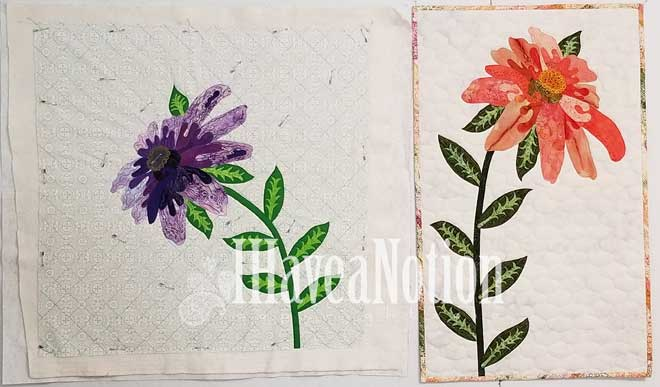 photo of purple and the orange cone flower quilts