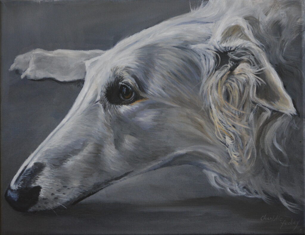 """Charlotte Yealey #39 """"Resting Borzoi"""" Oil an Acrylic Paintings/ oil painting $300"""
