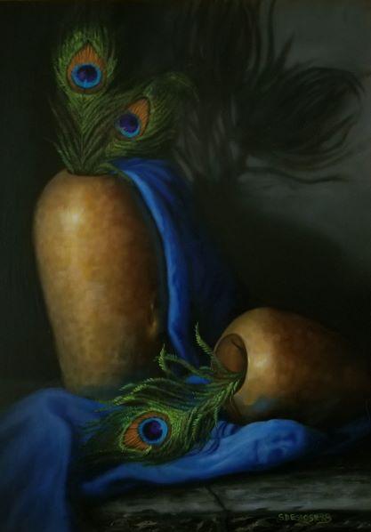 Sandra DesRosiers Artist #33 EYES WIDE OPEN OIL $1,200