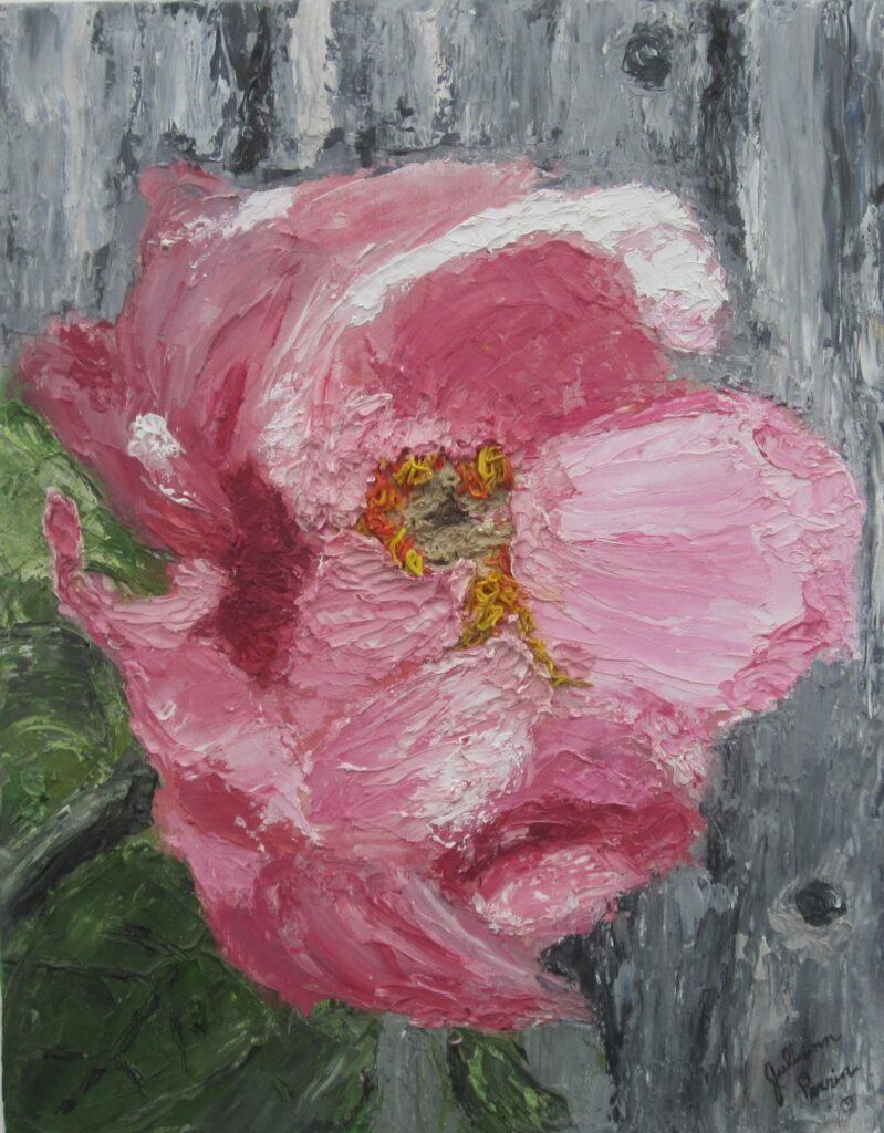 Juliann Perrin #97 Pretty In Pink Oil Knife Painting $125.00