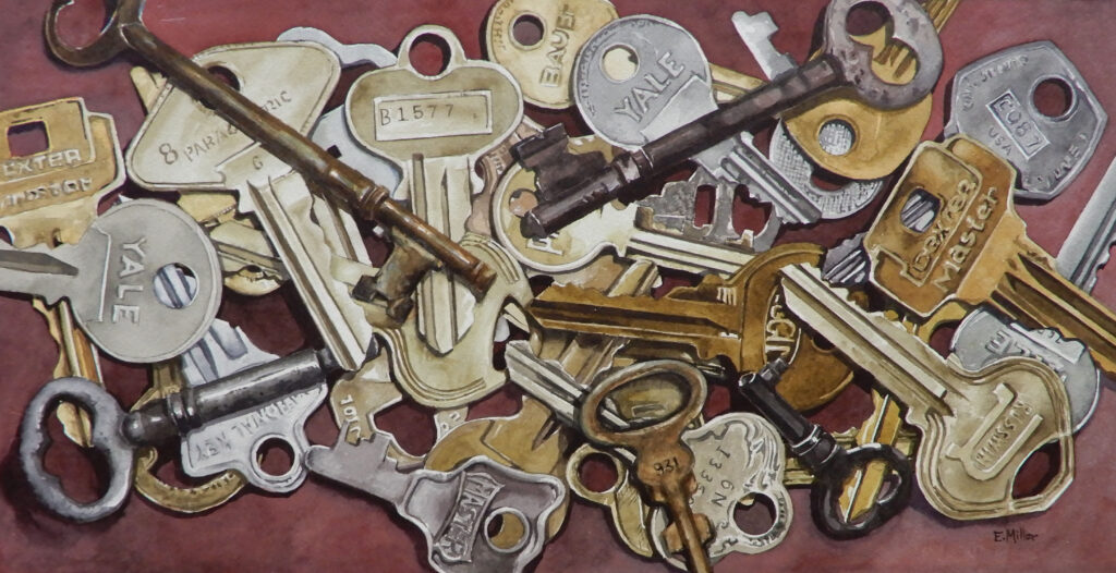 Eric Miller Artist #10 Find the Right Key Watercolor $450