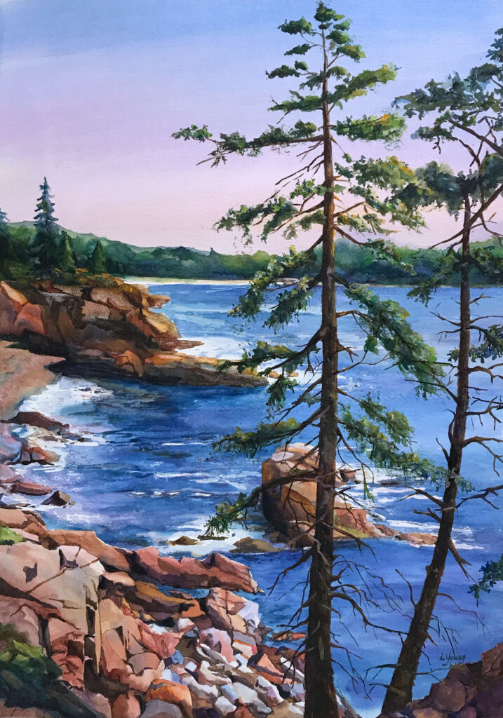 #3 Linda Young, #322, Otter Point Overlook, Watercolor, $700