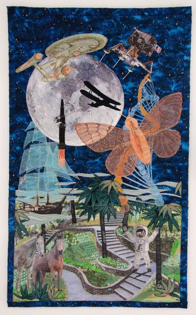 """Joanne Bast artist #13 The Rocket That Grandpa Rode: Commemorative quilt for the 50 year anniversary of the moon landing: Depiction of the Jimmy Buffett song lyrics """"The Rocket That Grandpa Rode"""" honoring Neil Armstrong and encompassing everything from the Wright Brothers to the Starship Enterprise. Three Dimensional Arts (Appliquéd, stitched and Photo transferred quilt) $1200"""