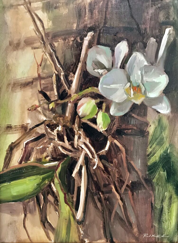 Julie Riker 403 Orchid Oil and acrylic painting $750