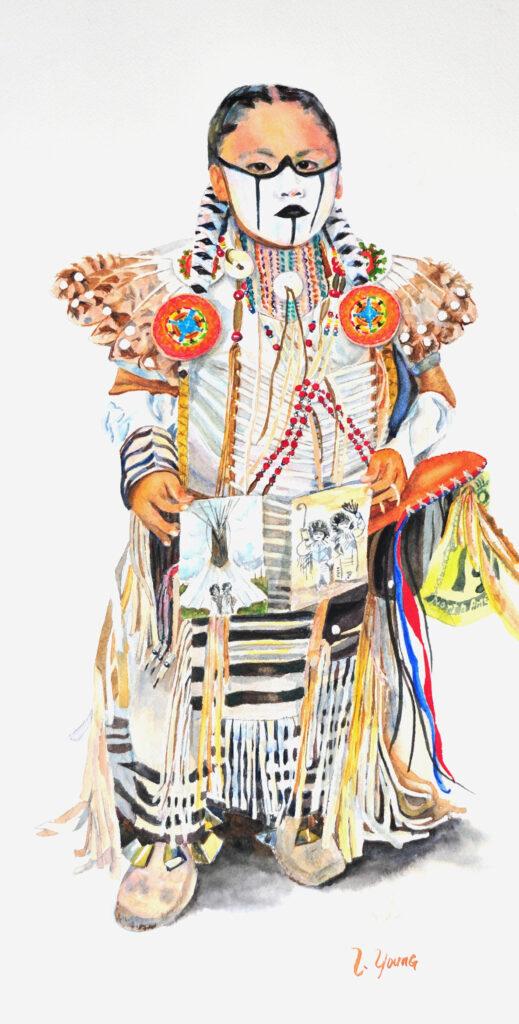 Linda Young, #322, The Pueblo Sales Pitch, Watercolor, $400